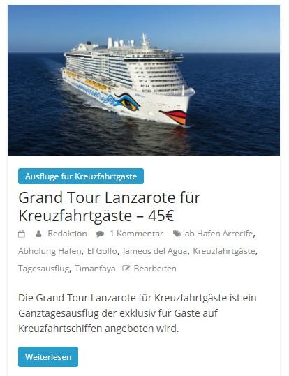 Inselrundfahrt Lanzarote für Kreuzfahrtgäste
