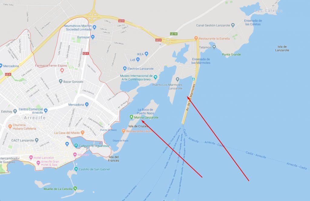Kreuzfahrttag auf Lanzarote Karte Hafen