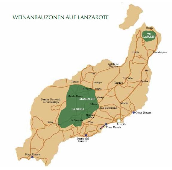 Karte Weinanbau Lanzarote