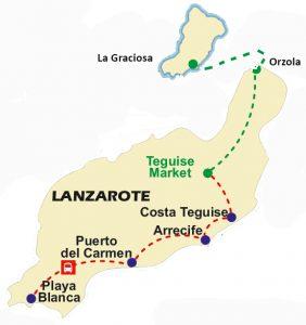 Teguise Markt und La Graciosa Karte