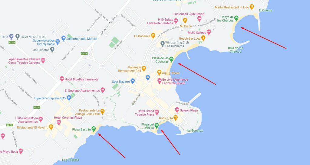 Lage der Strände in Costa Teguise
